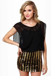 Starlet Letter Black and Gold Sequin Dress