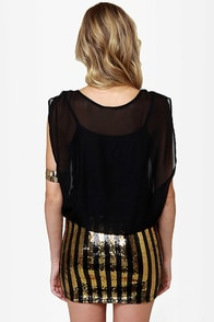 Starlet Letter Black and Gold Sequin Dress at Lulus.com!