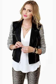 Potter's Pot Turntables Two-Tone Black Moto Jacket at Lulus.com!