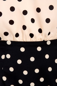 Bubbly Personality Navy Blue and Peach Polka Dot Dress at Lulus.com!