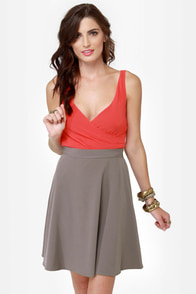 Flare-way to Heaven Taupe and Coral Dress at Lulus.com!
