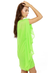 Asymmetry Hugger Neon Green Dress at Lulus.com!
