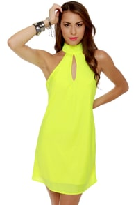 Highlight the Way Neon Yellow Halter Dress at Lulus.com!