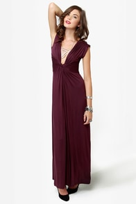 Grand Central Sensation Burgundy Maxi Dress