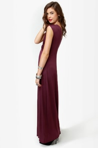 Grand Central Sensation Burgundy Maxi Dress at Lulus.com!