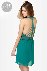Back Beauty Teal Green Dress