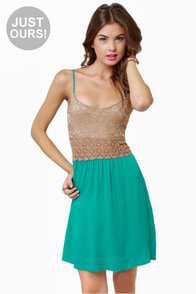 LULUS Exclusive Picture Perfect Taupe and Teal Dress at Lulus.com!
