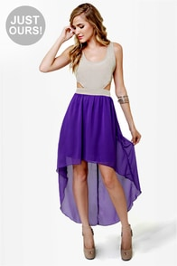 Get My Drift Taupe and Purple Dress