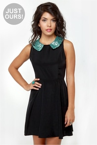On Cloud Shine Black Sequin Dress