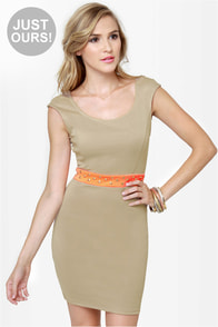 Rock Studdy Neon Orange and Beige Dress