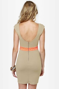Rock Studdy Neon Orange and Beige Dress at Lulus.com!