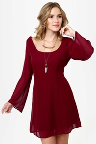 LULUS Exclusive Back in a Flash Burgundy Dress at Lulus.com!