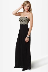 LULUS Exclusive Collect Your Dots Strapless Black Jumpsuit
