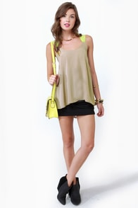 Pop and Lock Neon Yellow and Taupe Tank Top