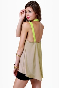 LULUS Exclusive Pop and Lock Neon Yellow and Taupe Tank Top at Lulus.com!