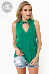 LULUS Exclusive Collared Queens Sleeveless Green Top
