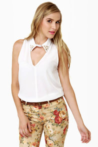 Collared Queens Sleeveless Ivory Top at Lulus.com!