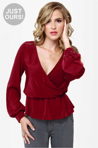 LULUS Exclusive Office Party Burgundy Top at Lulus.com!