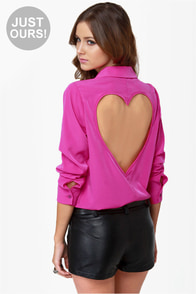 Listen to Your Heart Fuchsia Button-Up Top