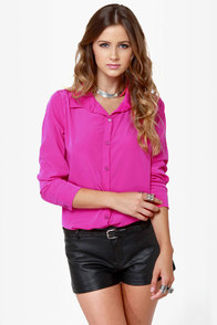 LULUS Exclusive Listen to Your Heart Fuchsia Button-Up Top at Lulus.com!