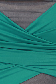 Make the Cut Grey and Teal Strapless Dress