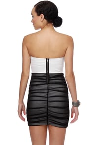 Double Meaning Strapless Black and White Dress