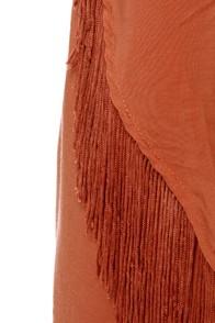 Fringe Tin Tin One Shoulder Salmon Pink Dress