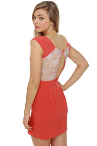 Middle See Lace Coral Red Dress