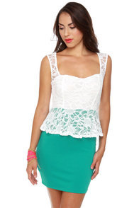 Holly Go-Lacey Ivory and Teal Dress at Lulus.com!