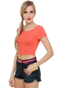 Crop To It! Coral Crop Top
