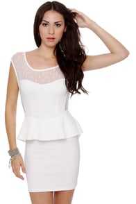 Flirt and Flutter Mesh Ivory Dress at Lulus.com!