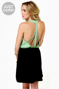 Back Beauty Mint and Black Dress