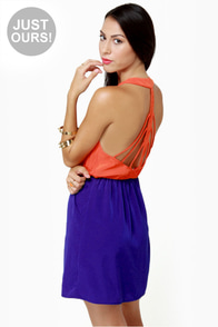 Back Beauty Orange and Blue Dress