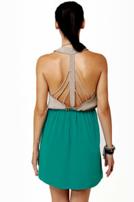 Back Beauty Taupe and Teal Dress at Lulus.com!