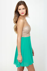 Ta-ra-ra Bustier! Taupe and Turquoise Dress at Lulus.com!