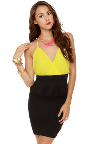 Highbrow and Low Cut Yellow and Black Dress at Lulus.com!