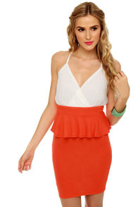 Highbrow and Low Cut White and Orange Dress at Lulus.com!
