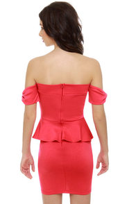 Valley Girl Off-the-Shoulder Coral Red Dress at Lulus.com!