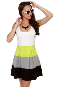 Color Bar Quartet Neon Yellow Color Block Dress