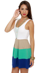 Color Bar Quartet Taupe and Teal Color Block Dress at Lulus.com!