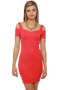 Mystery Woman Coral Red Dress