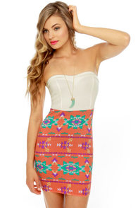 Sizzling Southwest White and Orange Print Dress