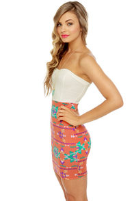 Sizzling Southwest White and Orange Print Dress at Lulus.com!