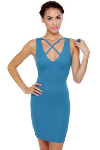 On Your Mark Sleeveless Blue Dress