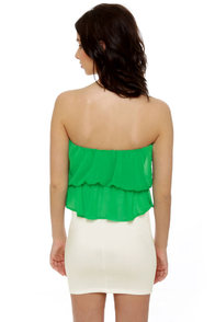 Time Flies Strapless White and Green Dress at Lulus.com!