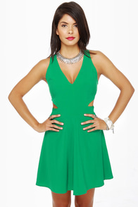 Stuck on You Cutout Green Dress at Lulus.com!