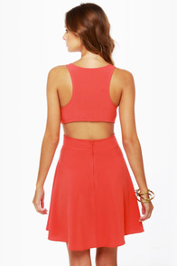 Stuck on You Cutout Coral Red Dress at Lulus.com!