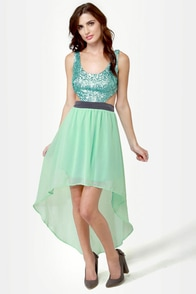 High Sequin-cy Mint Green High-Low Sequin Dress at Lulus.com!