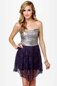 The Works Purple and Silver Sequin Lace Dress