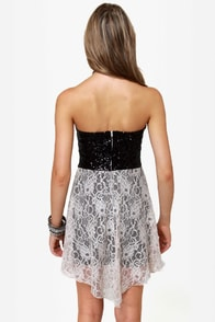The Works Black and Beige Sequin Lace Dress at Lulus.com!